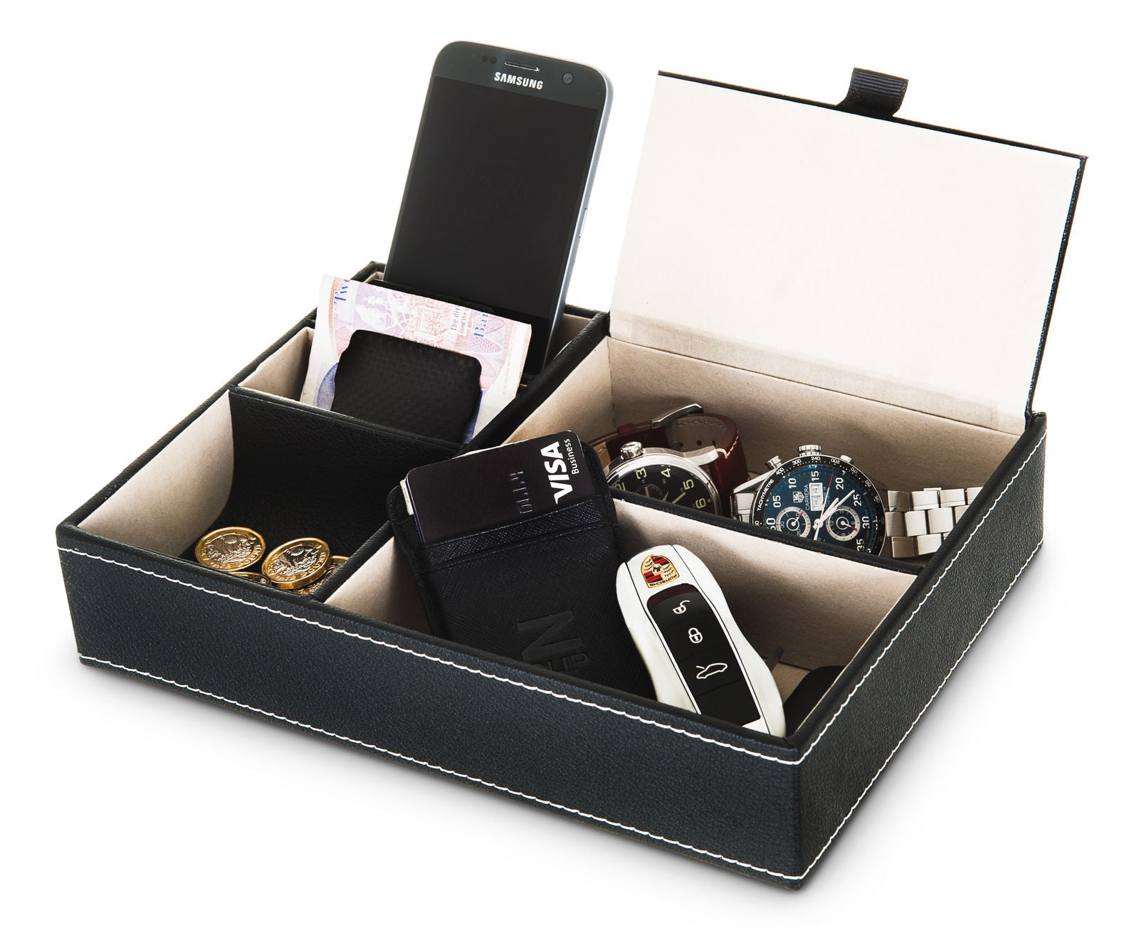 5 COMPARTMENT VALET ORGANISER BLACK