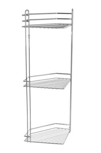3 TIER CHROME CORNER BATHROOM CADDY
