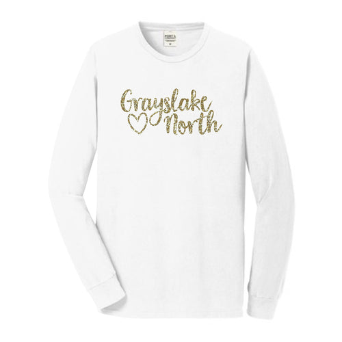White L/S Tee with GN and Heart