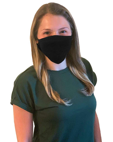 100% Cotton Antimicrobial Triple Layer Adjustable Mask - Black