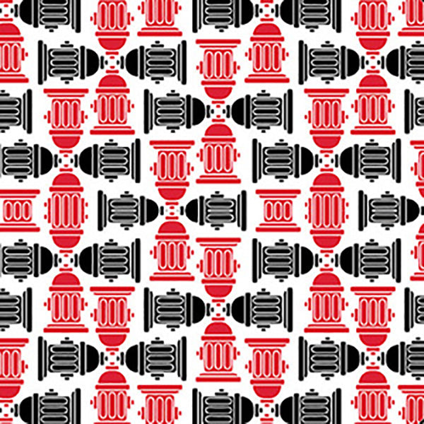 Red & Black Fire Hydrants Bandana
