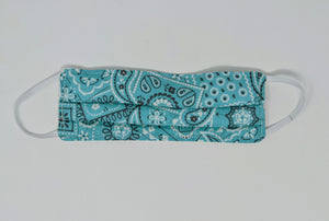 Canadian Made Cotton Paisley Mask - Kids, Turquoise