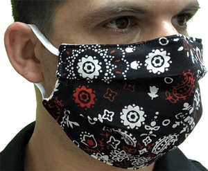 Canadian Made Cotton Paisley Mask - Adult, Black