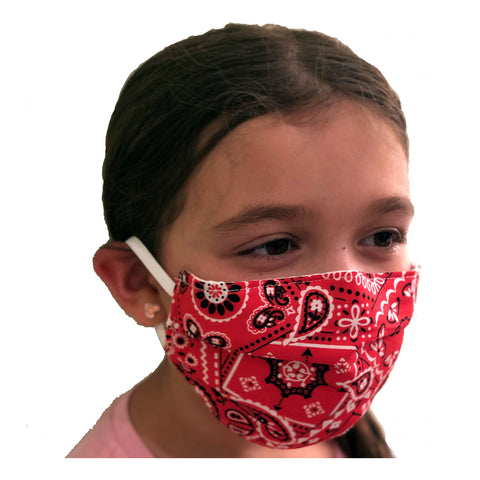 Canadian Made Cotton Paisley Mask - Kids, Red