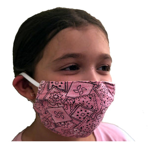 Canadian Made Cotton Paisley Mask - Kids, Pink