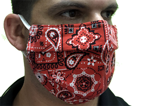 Canadian Made Cotton Paisley Mask - Adult, Red