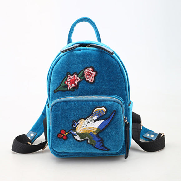 Flower Bird Embroidered Backpack