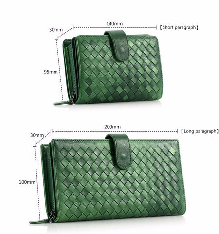 Green Leather Hand Knitted Wallet