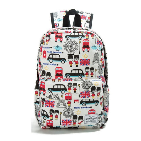 Floral Print Canvas Backpack