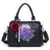 Image of Floral Print Leather Handbag