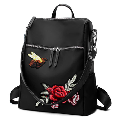 Butterflower Embroidery Backpack