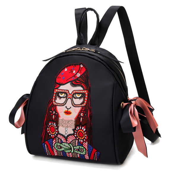Girls Cartoon Patch Backpack