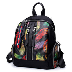 Girl Black Printed Feather Backpack