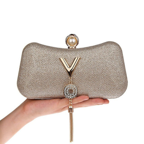 Gold Diamond Tassel Pearl Evening Bag