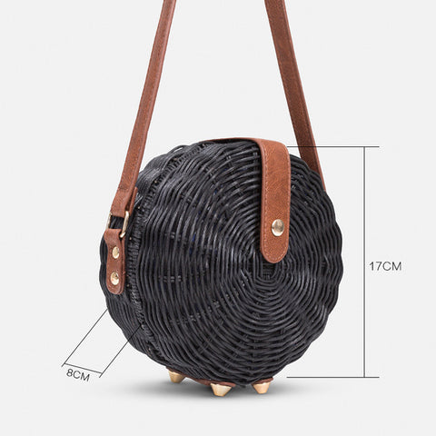 Women Handmade Round Straw Bag