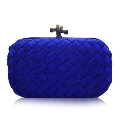 Woven Sating Evening Clutch Bag