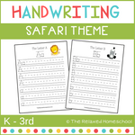 Handwriting Practice Sheets - SAFARI THEMED