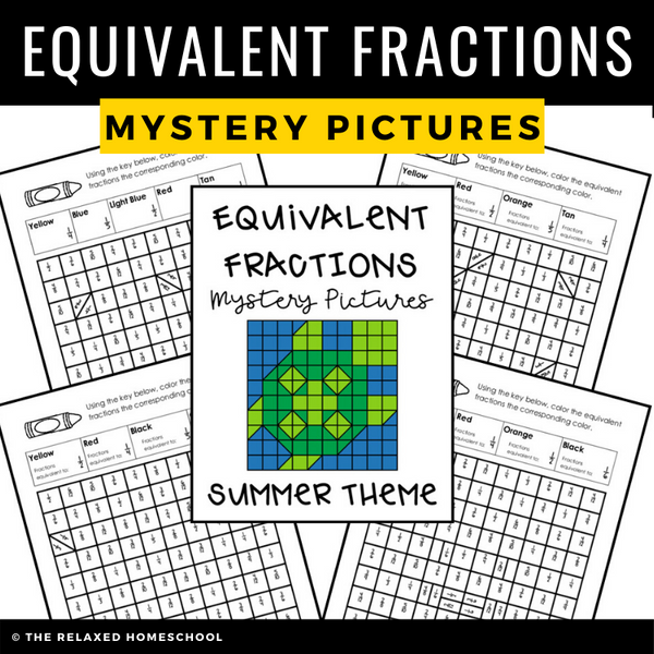 Equivalent Fractions Mystery Color Sheets