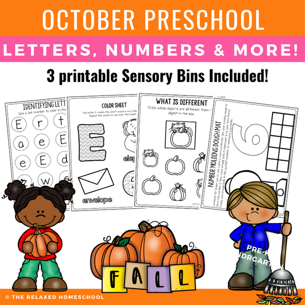 Preschool OCTOBER Packet - Distance Learning and Homeschooling
