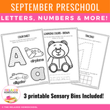 Preschool September Packet - Distance Learning and Homeschooling