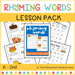 Rhyming Words Lesson Pack- K - 2nd