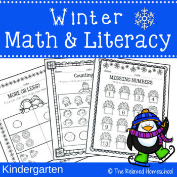 Winter Math and Literacy Worksheets - Kindergarten