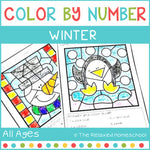 Winter Color By Number - Math: Simple Addition and Subtraction