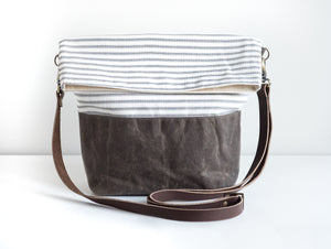 Striped Fold Over Bag