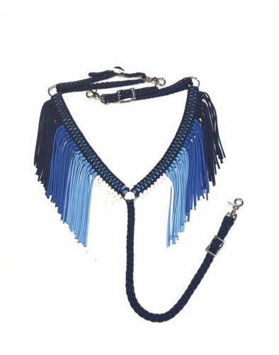 Blue Ombre fringe breast collar