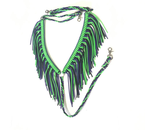 fringe breast collar neon purple and neon green