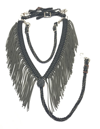 Black and olive  green  fringe breast collar with a wither strap