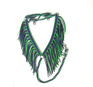 fringe breast collar neon green and neon purple