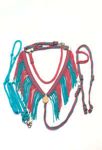 Fringe Breast Collar tack set Fuschia and green turquoise