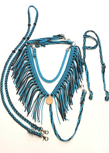 Fringe Breast Collar tack set Neon Turquoise and Black