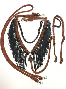Fringe Breast Collar horse tack set Chocolate brown and Black