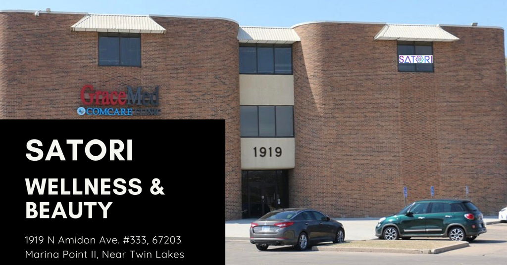 Satori Wellness & Beauty, 1919 N Amidon Ave. #333, Wichita, Ks 67203, located in Marina Point II, the Comcare Grace Med building.  On the third floor just exit the elevator and head down the hall towards our sign.
