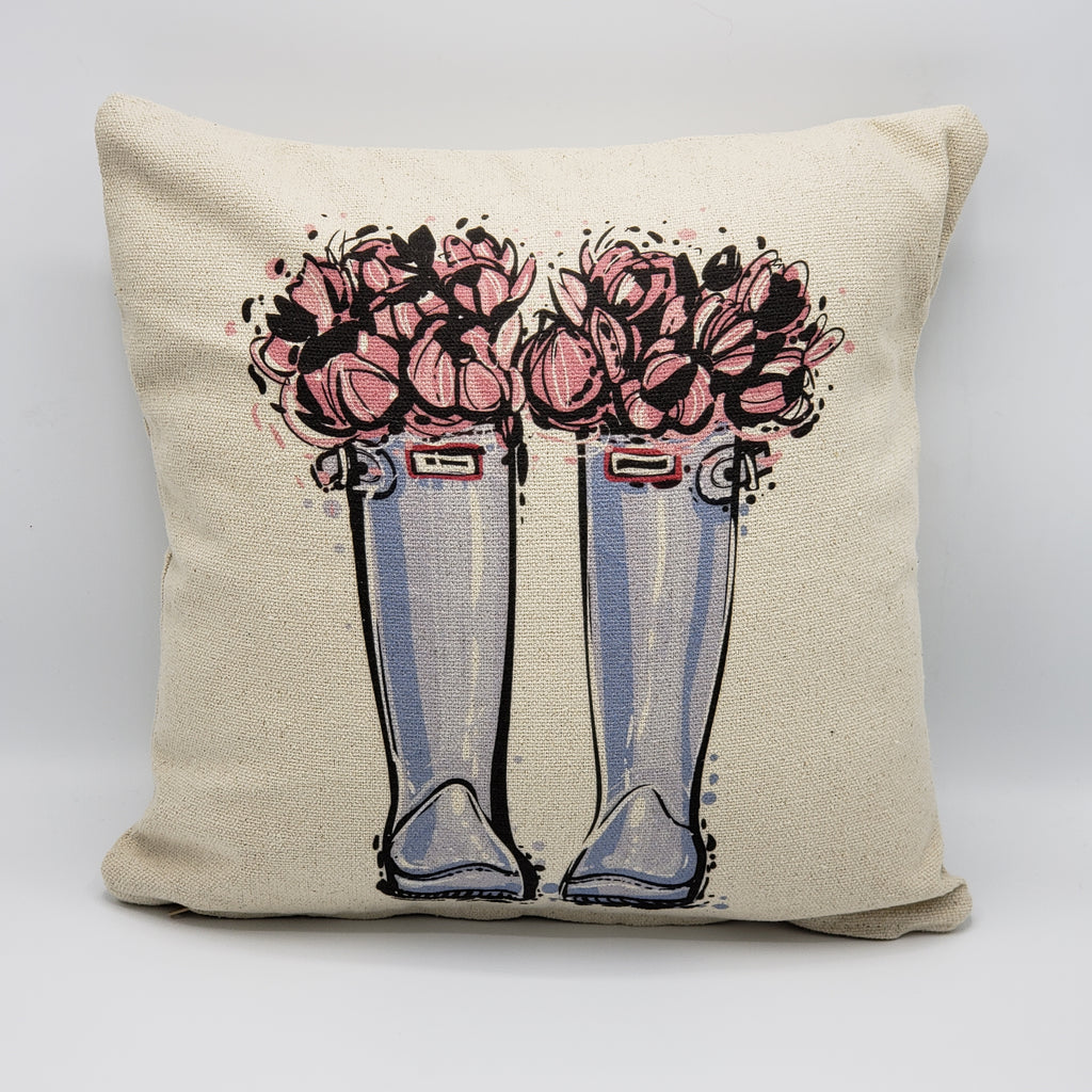 Gray Floral Boots Pillow