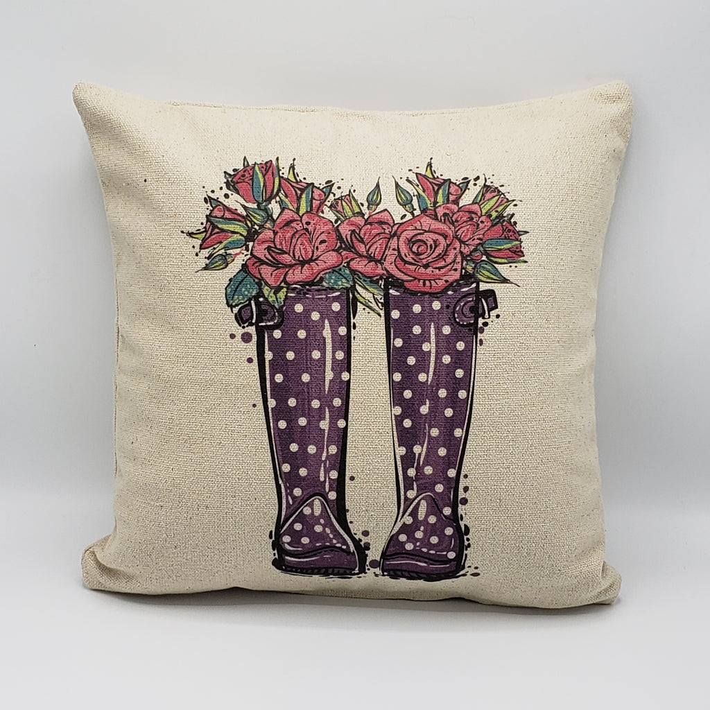 Purple Polka Dots Floral Boots Pillow