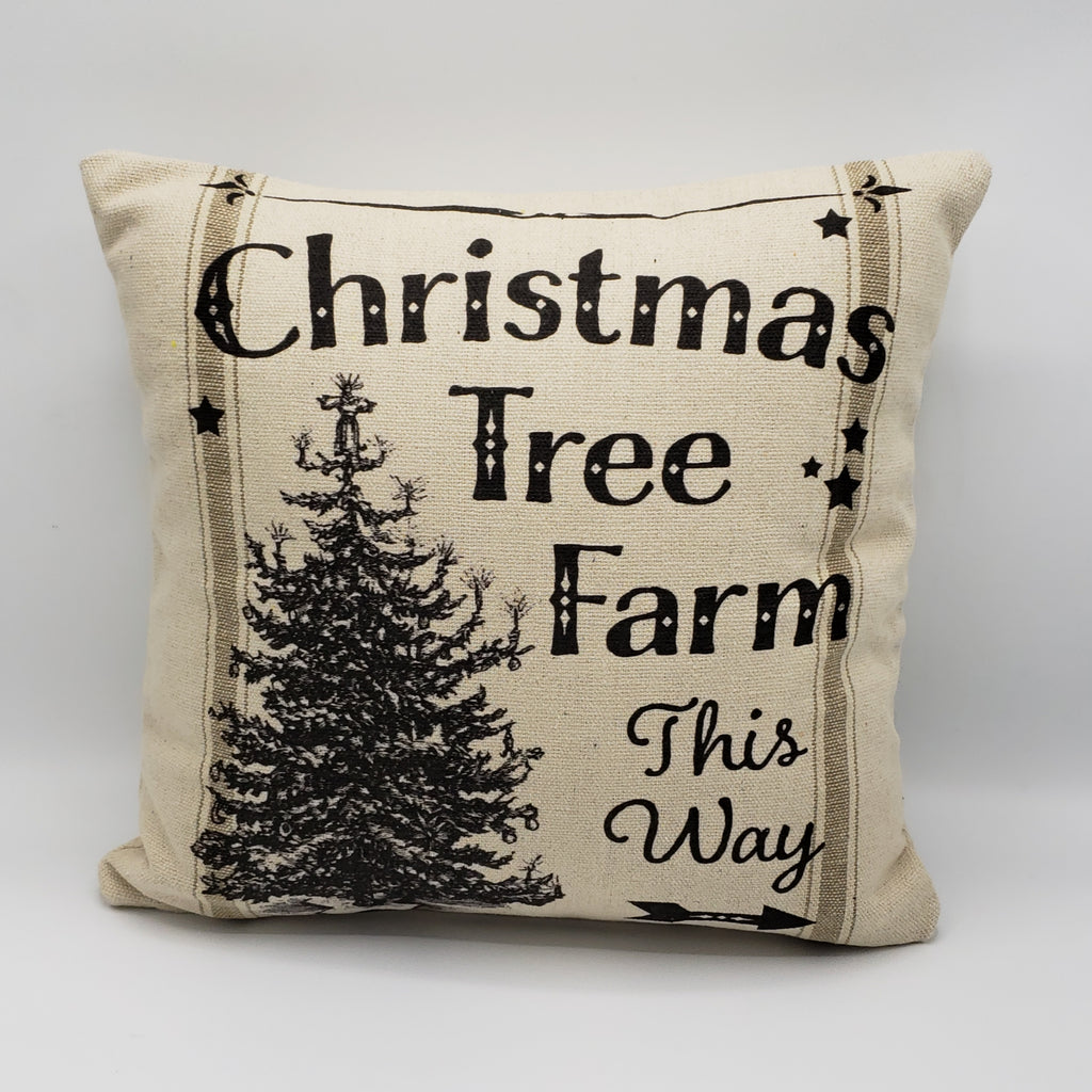 Vintage Christmas Tree Farm Pillow