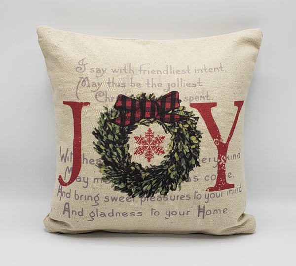 Joy Script Wreath Pillow