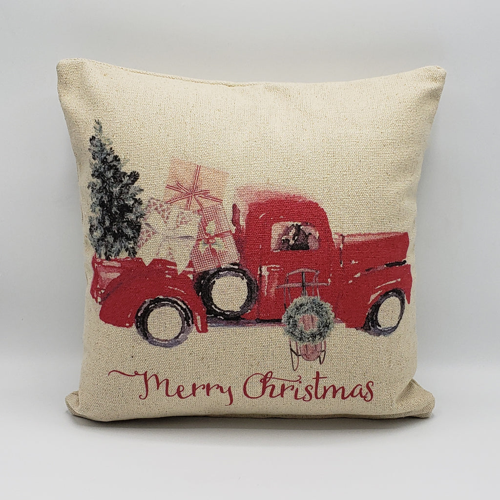 Watercolor Christmas Truck Pillow