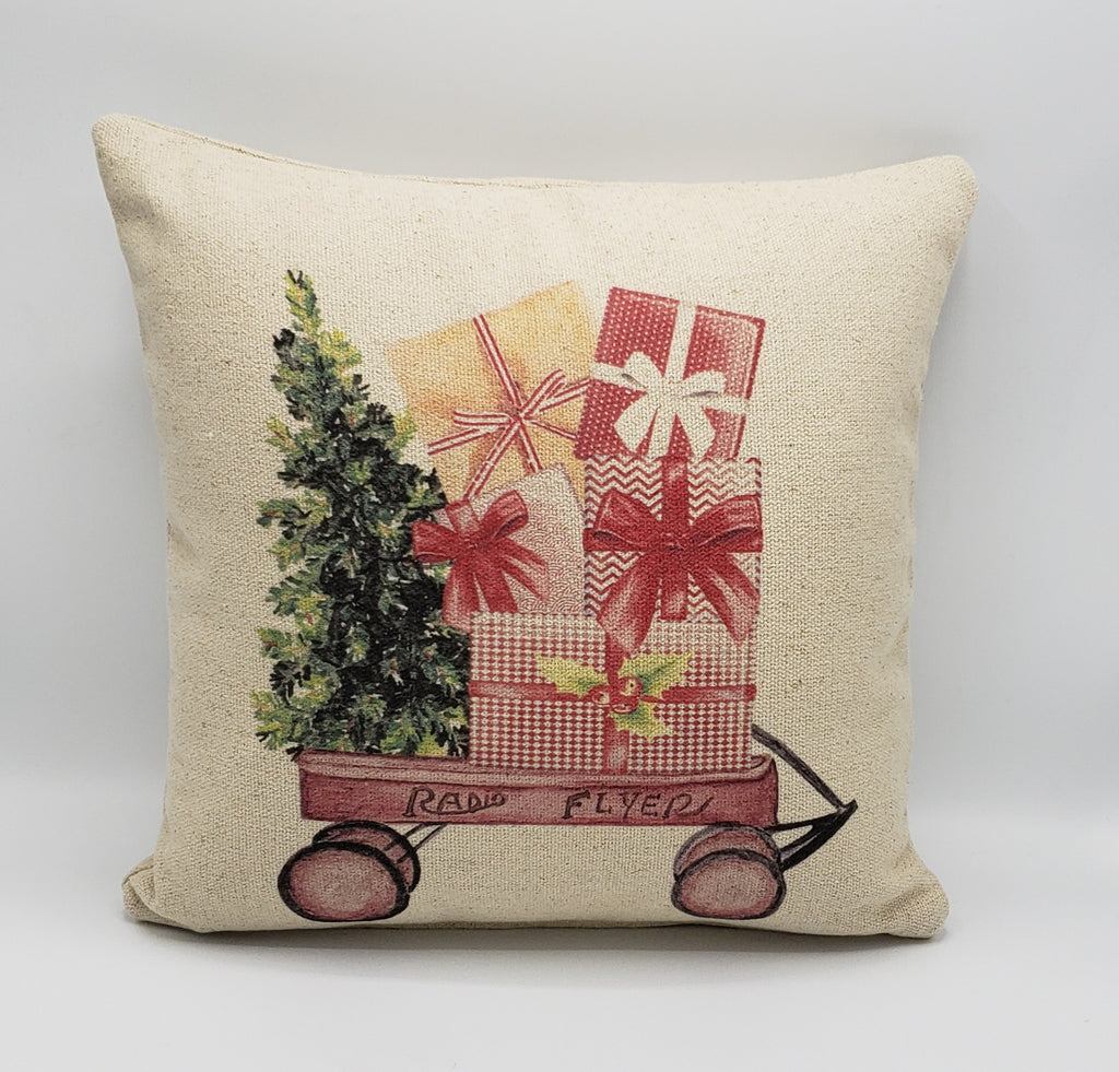 Christmas Present Wagon Pillow
