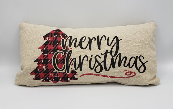 Merry Christmas Buffalo Tree Pillow