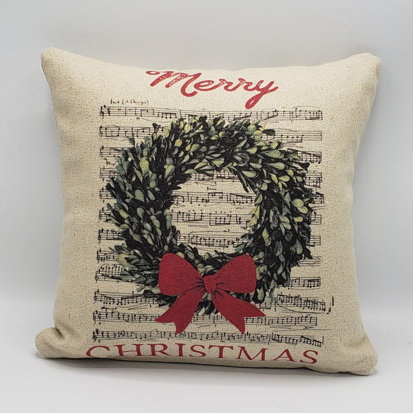Christmas Music Wreath Pillow