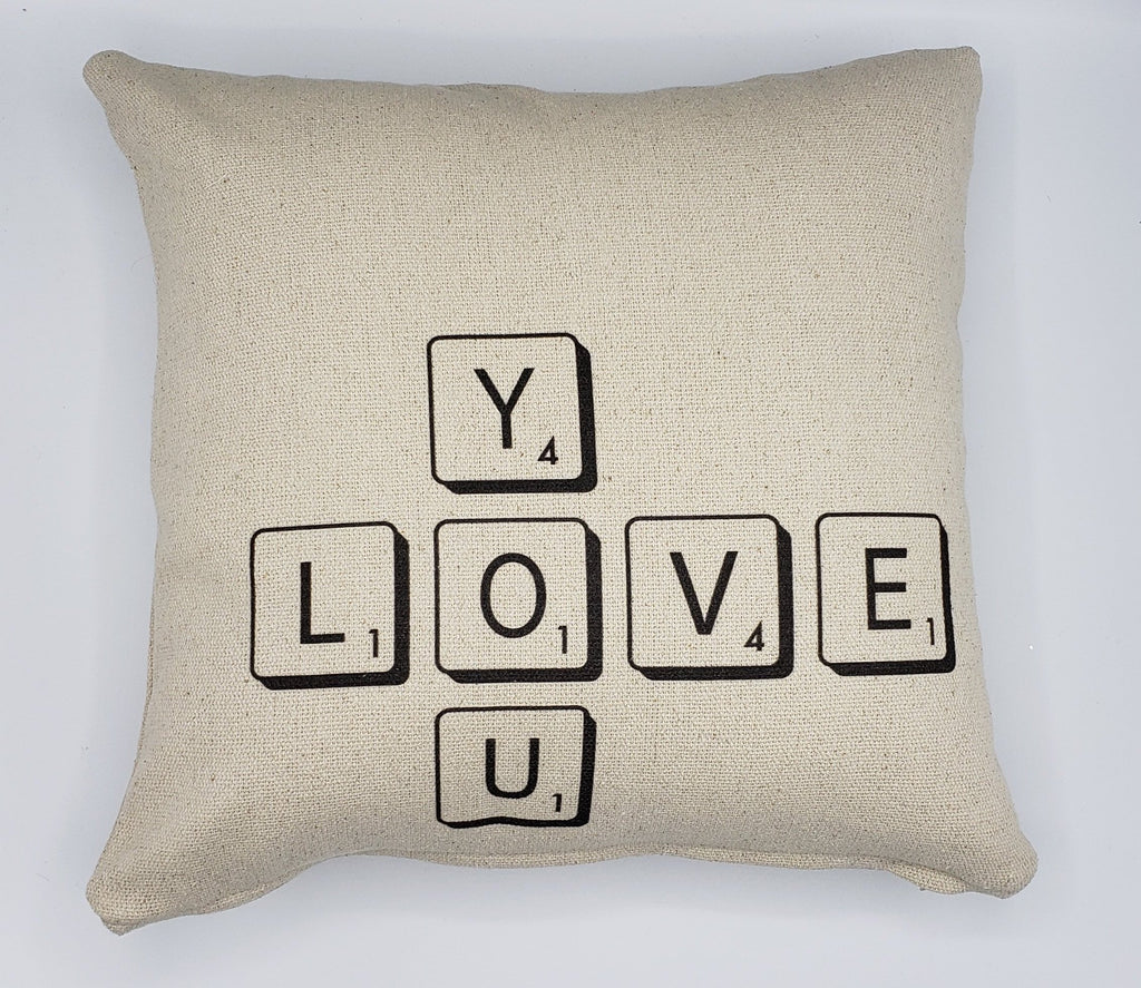 Love You Scrabble Pillow