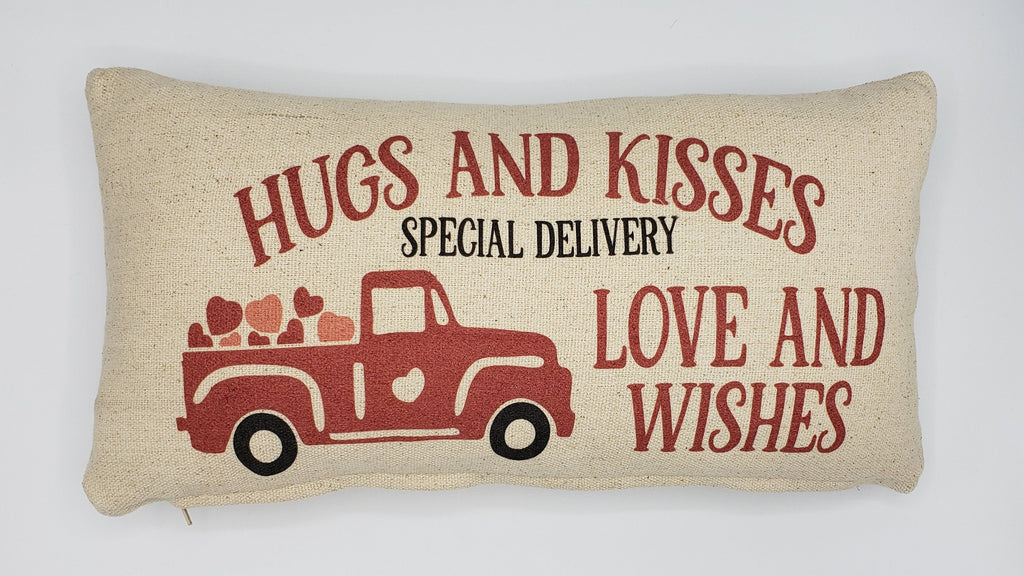 Hugs & Kisses Truck Pillow