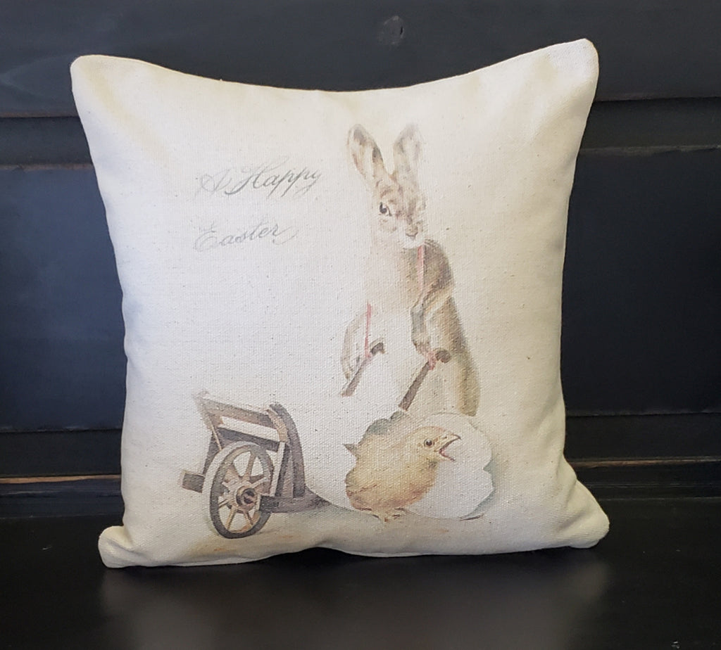 Easter Bunny With Cart Pillow
