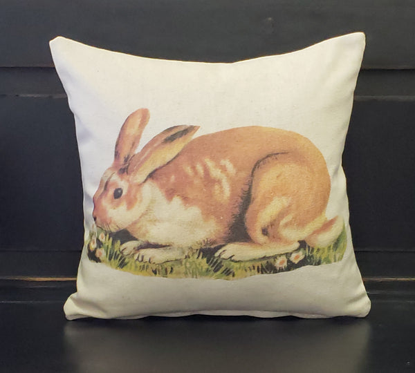 Rabbit In Grass Pillow