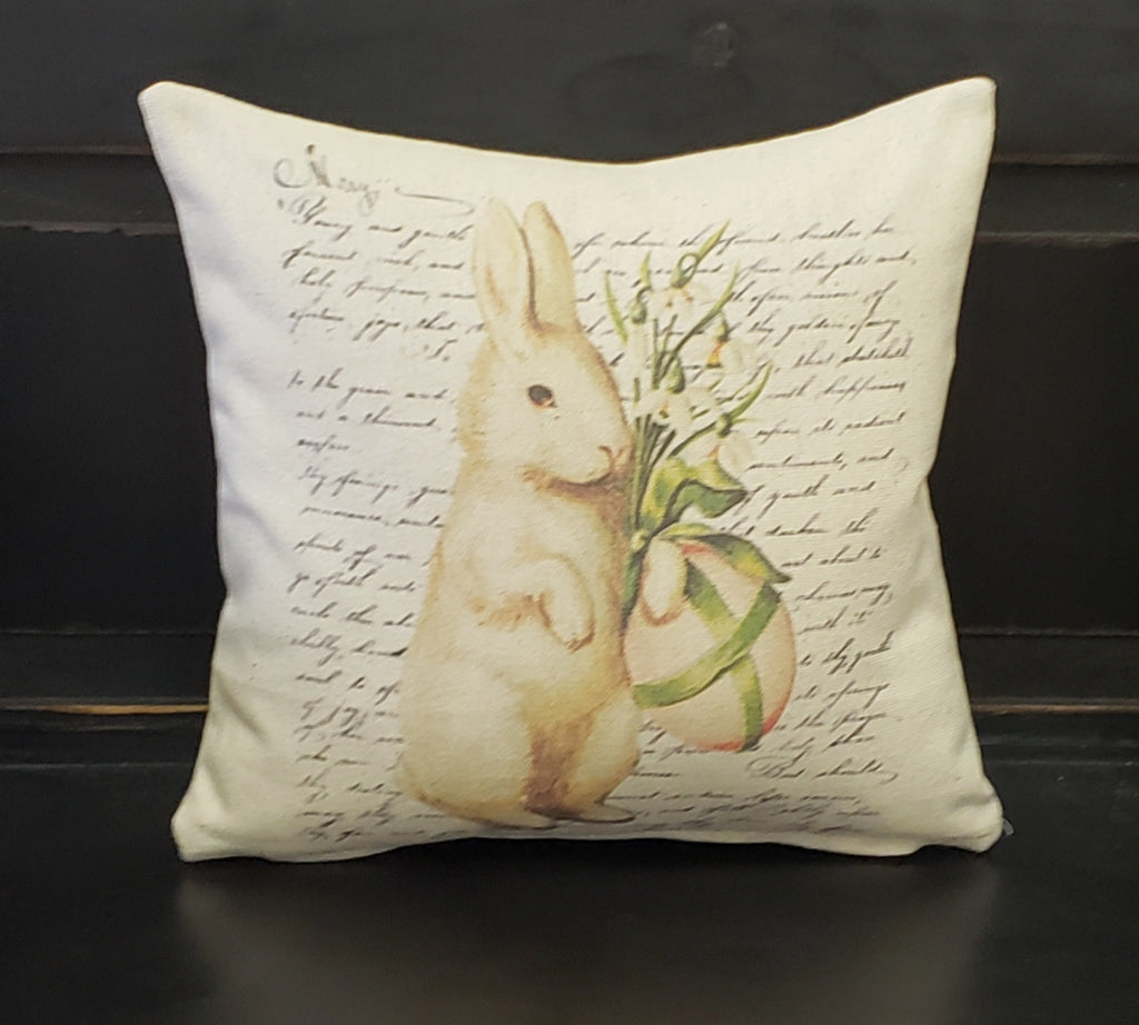 French Easter Bunny Floral Pillow