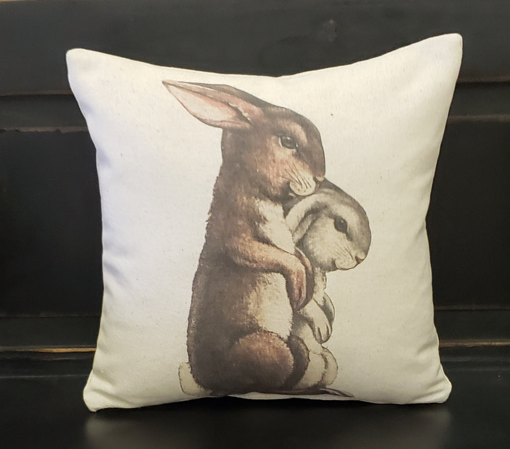 Gray & White Bunnies Pillow